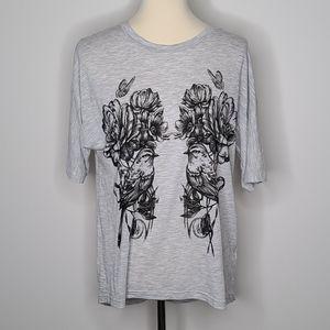 Topshop bird floral graphic tshirt s/m